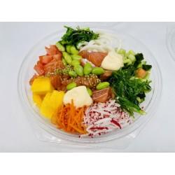 Poke bowl  met zalm wasabi mayonaise  en noodels
