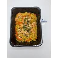 Paella rijst met zeevruchten